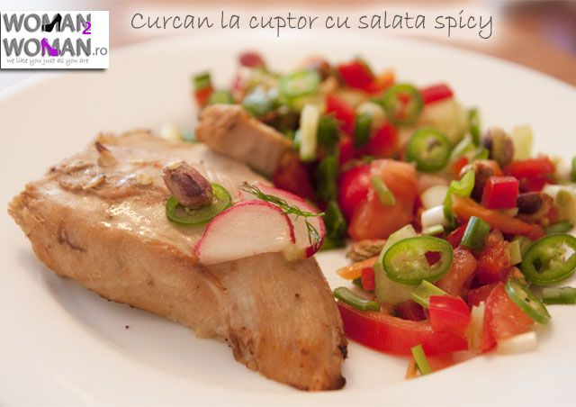 Curcan la cuptor cu salata spicy si fistic