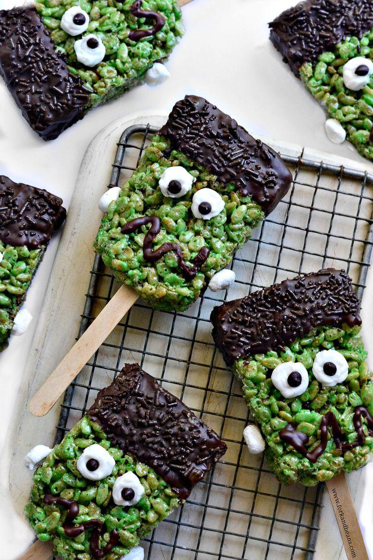 Frankenstein Brown Rice Krispie Treats.  Dairy-Free / Gluten-Free / Kid-Friendly / No Bake / Nut Free / Vegan.