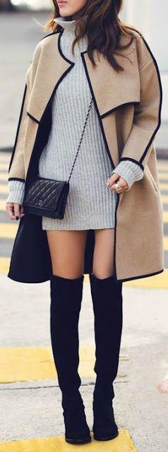 Grey sweater dress + tan coat.