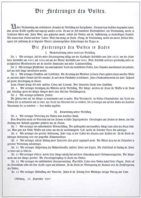 Die 13 Forderungen des Volkes in Baden vom 12. September 1847