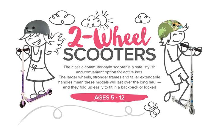 """2-Wheel Scooters - This collection of classic & stylish """"commuter"""" style scooters have larger wheels and extendable, adjustable handles, so they'll last over the long haul!  http://www.mastermindtoys.com/Scooters-Two-Wheeled-Scooters.aspx"""