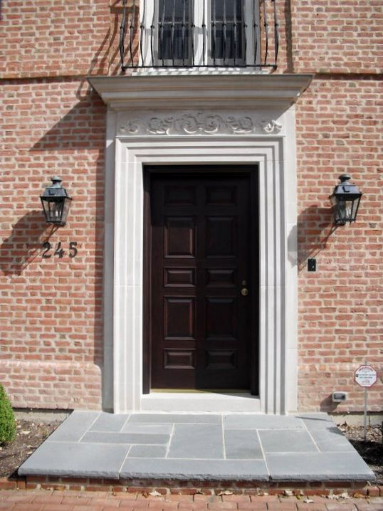 Indiana Limestone Door Surround With Hand Carved Lintel By
