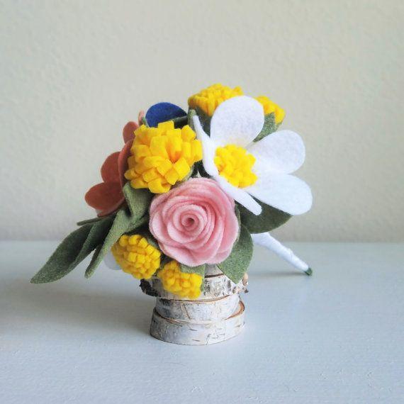 Rainbow Wildflower Felt Bouquet Wrapped in White by ThreadandHeart