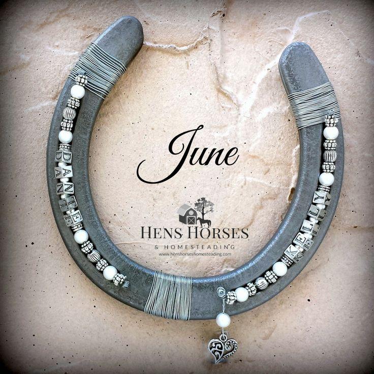 JUNE Personalized Birthstone Horseshoe! Two Names! Hens Horses & Homesteading