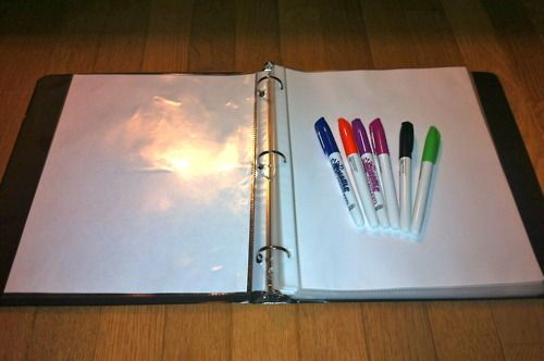 Love this idea: I know that many of you may already know about this teaching idea, for those of you who don't here are my cheap white boards. Being a first year teacher I do not have the money or resources for my students to each have their own mini white boards. These homemade white boards are stored in binders and are created with a sheet protector and plain sheet of paper.These work just as good as white boards and can be easily replaced!