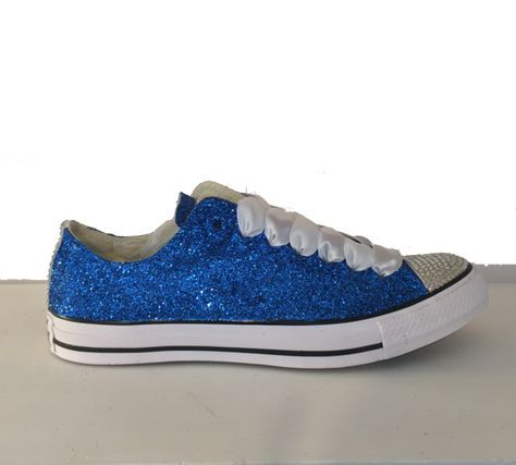 15 OFF with code  PINNED15 Womens Sparkly Royal Blue Glitter Crystals  Converse All Star wedding bride prom shoes - Glitter Shoe Co 0320ca3dbcdf