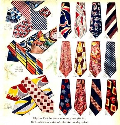 Vintage 1940s mens ties, neckties. Don't you just love all these colors and patterns?