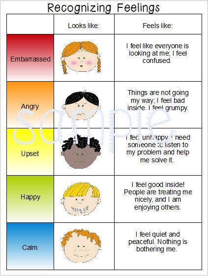 Feelings and Emotions Charts for special needs, autism or speech delayed students.
