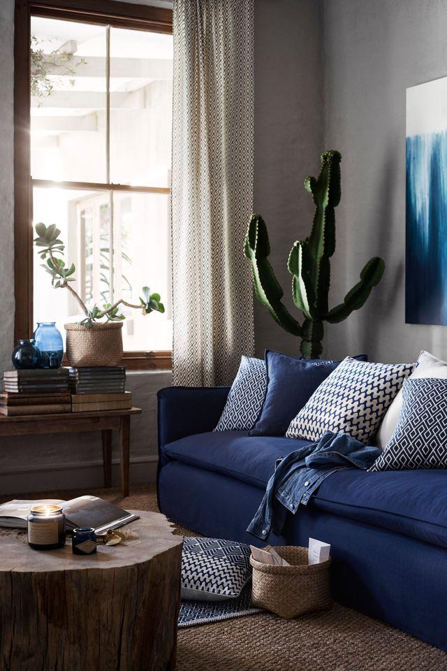 Rideaux épais à motif imprimé, en coton, 29,99 euros le lot de deux rideaux.
