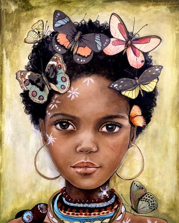 niño de África con mariposas