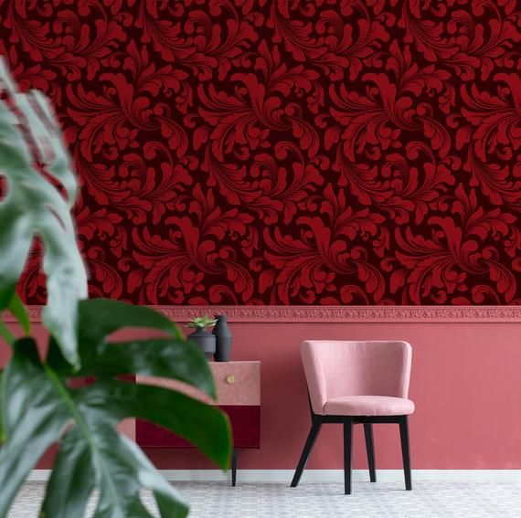 Vintage Red Wallpaper With Damask Pattern Peel And Stick Wall Etsy In 2021 Red Wallpaper Removable Wallpaper Damask Pattern