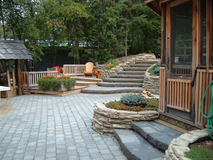 Stone Stairs And Patio Lakeside Cottages Country