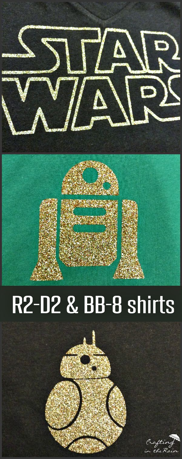 Make your own R2-D2 and BB-8 Star Wars shirts with glitter vinyl.
