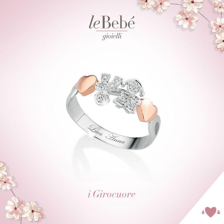 Anello Girocuore, un dolce simbolo del tuo amore, in oro bianco e oro rosa con sagome bimbo e bimba in pavé di brillanti. :) http://www.lebebe.eu/it/collezioni/i_Girocuore #fieradiesseremamma #lebebé #gioielli #anelli