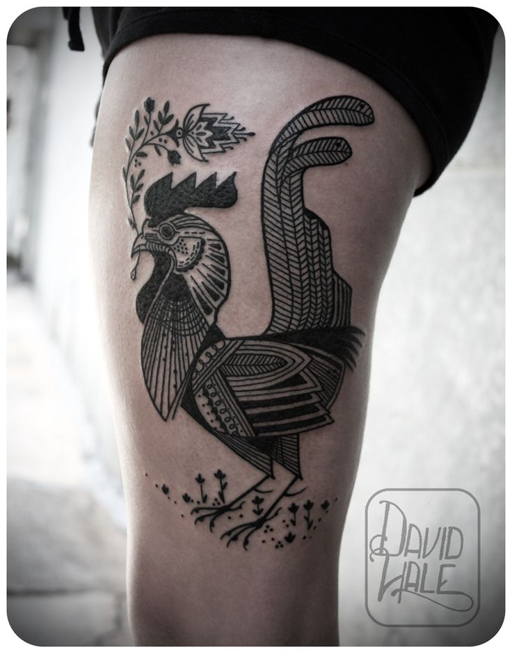 rooster by david hale #thigh #leg #tattoos