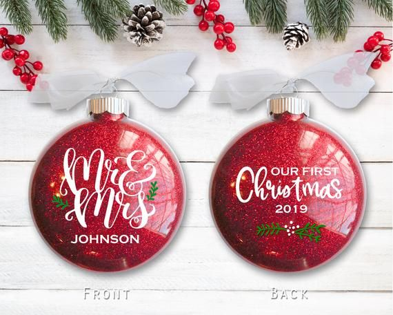 Mr and Mrs Ornament Custom Photo Ornament Wedding Picture Ornament Wedding Gift First Christmas Married Ornament Wedding Photo Ornament