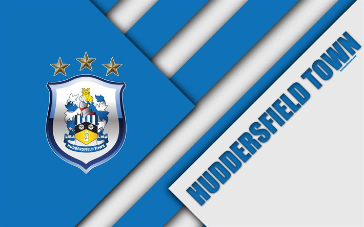Download wallpapers Huddersfield Town AFC, logo, 4k, material design, white blue abstraction, football, Huddersfield, England, UK, Premier League, English football club