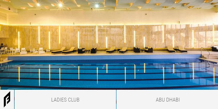 A high quality and class club for ladies needs a naturally enriched design, gold onyx, blended with a touch of indirect and strip lighting that demonstrated a calm sophistication of a crafted space. The indoor Pool of Abu Dhabi Ladies Club is made of Marmi Maximum Gold Onyx 300x150.