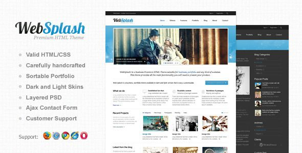 """Web Splash is an ideal HTML theme for a creative agency, a portfolio or your business! The template is created in the minimalist """"clean"""" style. The template is given in 3 colours. The colour and background can be customized."""