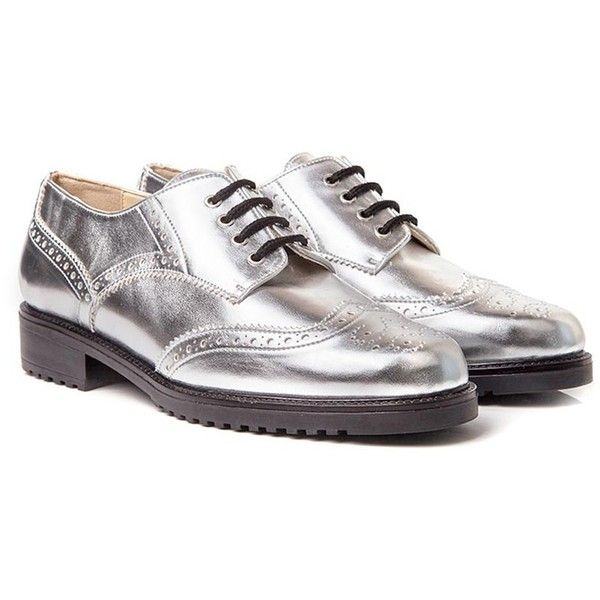 Elvis Silver Brogues | Beyond Skin ($135) ❤ liked on Polyvore featuring shoes, oxfords, beyond skin, lace up oxfords, lace up brogues, laced up shoes and silver brogues