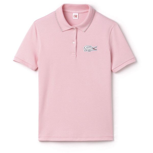 Lacoste L!VE Slim Fit Polo in Mini Piqué ($80) ❤ liked on Polyvore featuring tops, lacoste live lacoste live, lotus pink, polos polos, scalloped top, slimming tops, lacoste, embroidered top and mini top