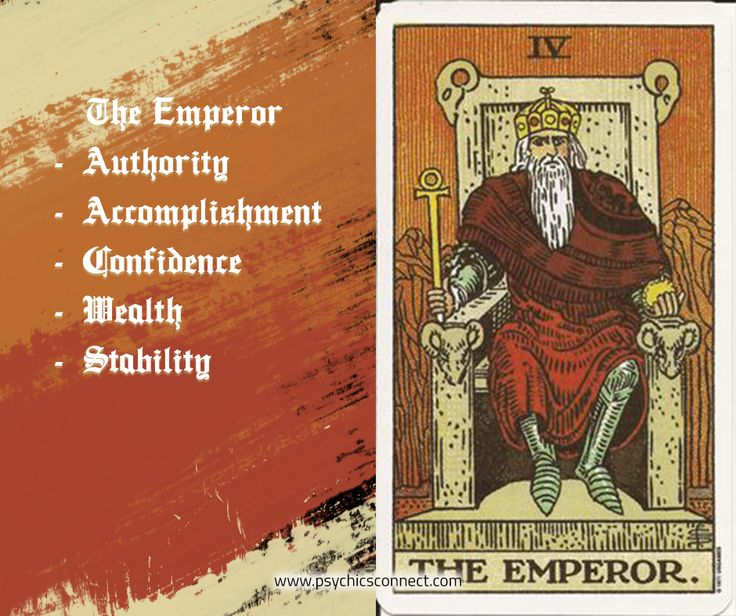 The Emperor signifies male influence, domination of intelligence and reason over emotion and passion. It represents a time to deal with people in authority, the attainment of goals by whatever means necessary and being in control.   #psychicsconnect #tarot