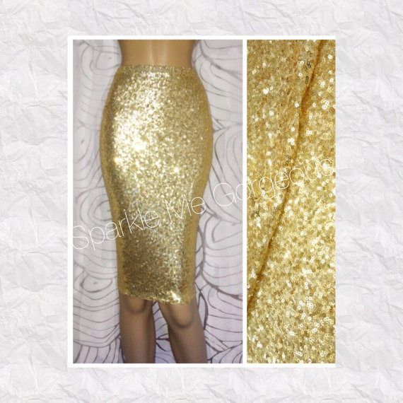Gold sequin pencil skirt for bridesmaid, wedding, prom, girls night out... or just to be a glam girl.This handmade midi pencil skirt is made with a stretchy sequin fabric and soft lining on the inside. The skirt is also made with an elastic waistband and is designed to fit comfortably so that the SEQUIN FABRIC DOES NOT TOUCH YOUR SKIN or cause irritation. This item FITS TRUE TO SIZE and graded to adhere to US industry standards. SKIRT LENGTH: 25 inches  SIZE CHART (in inches): Size S (0-2)…