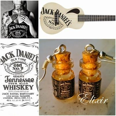 Elixir Crafts. jack daniels earrings
