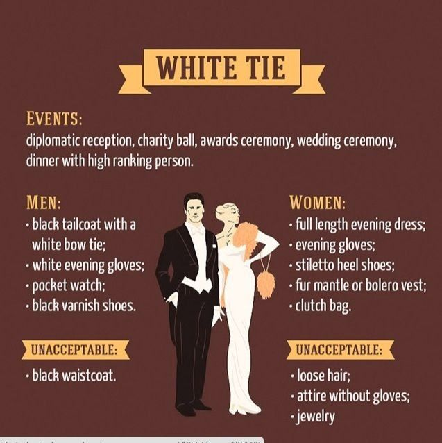 Guide To Most Basic Dress Code Rules 1000 In 2020 White Tie Dress Black Tie Dress Code Dress Codes
