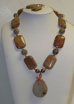 Mugger Jasper Agate Copper Necklace Earrings
