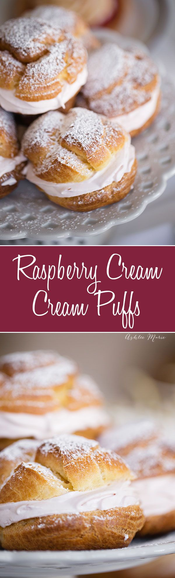 Easy to make cream puffs (with a video tutorial) and filled with a delicious raspberry whipped cream