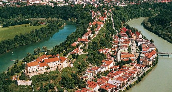 View of Burghausen Castle, the longest castle in Europe.