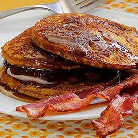 Paleo Pumpkin Pancakes Recipe - these are GREAT! no coconut flour; very tasty. I doubled recipe and did 1/2 honey 1/2 maple syrup, 1 tsp cinnamon 1tsp pumpkin pie spice. Eliana liked them. Cook on low (3 heat) for 4-5min/side.