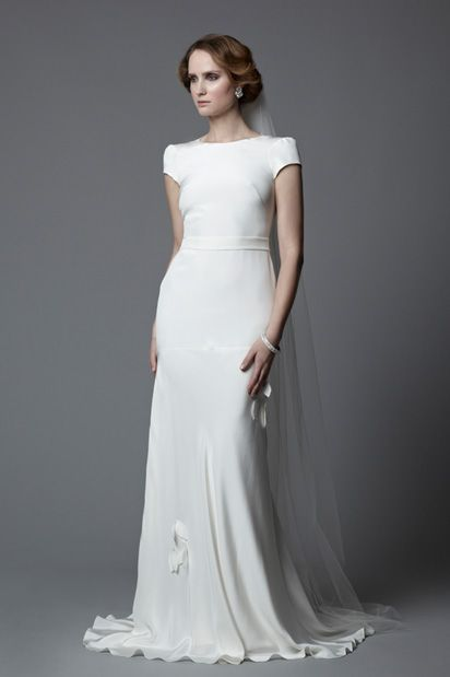 1920 s vintage inspired style tallulah in silk crepe bias for Vintage wedding dresses 1920s