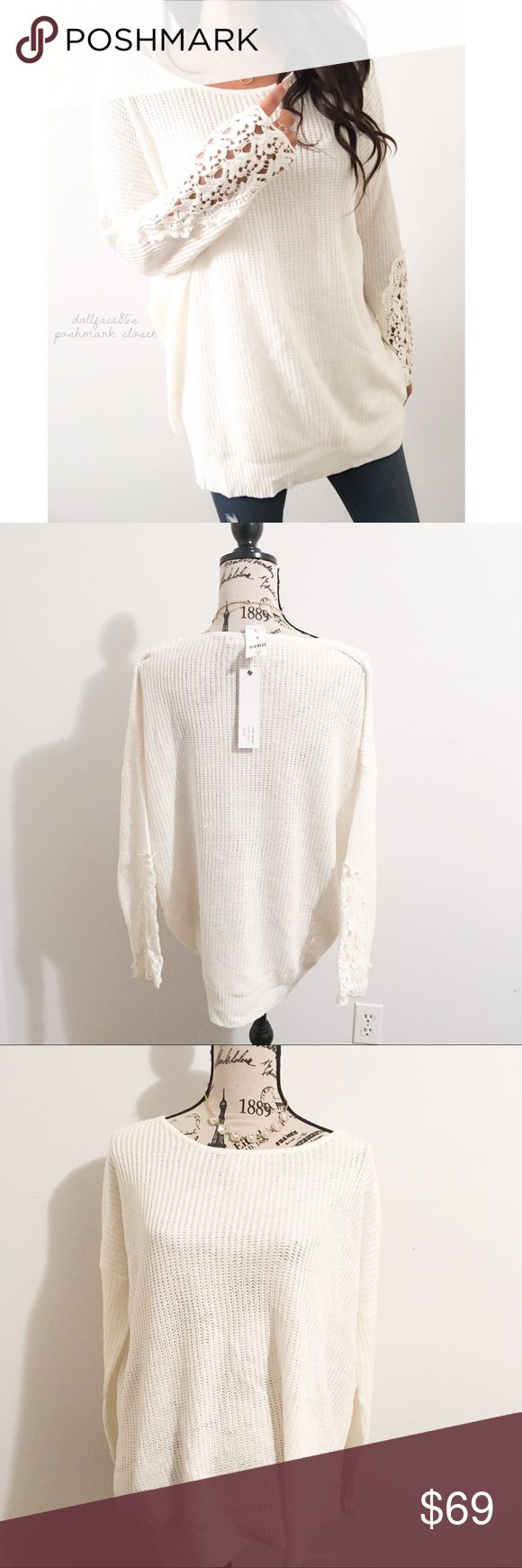 """NWT Millau Cream Lace Cuff Sweater ✦   ✦{I am not a professional photographer, actual color of item may vary ➾slightly from pics}  ❥chest:27"""" ❥waist:26.5"""" ❥length:28"""" ❥sleeves:26.5"""" collar-cuff ➳material/care:cotton/machine wash  ➳fit:oversized in my opinion  ➳condition:new w/tag, but has a snag on back of knit   ✦20% off bundles of 3/more items ✦No Trades  ✦NO HOLDS ✦No lowball offers/sales are final  ✦‼️BE A RESPONSIBLE BUYER PLS ASK QUESTIONS/USE MEASUREMENTS TO MAKE SURE THIS WILL WORK…"""