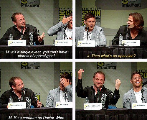 Meanwhile at Comic Con Supernatural panel we find Mark Sheppard making a Doctor Who comment