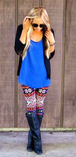 Colorful combo with wild wind tribal leggings | Fashion World