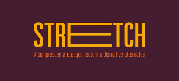 Bw Stretch font showcase. A compressed grotesque typeface with disruptive alternates stretching the characters beyond the expected.
