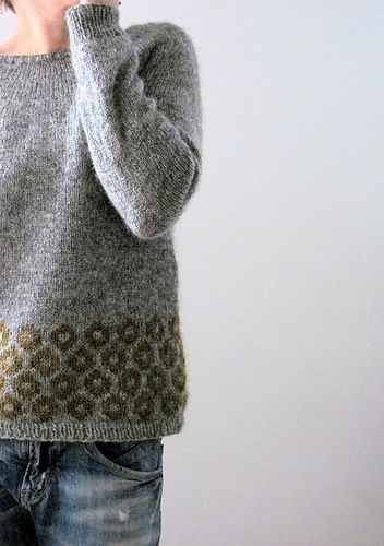 This round-yoked sweater is worked seamlessly from the top down.
