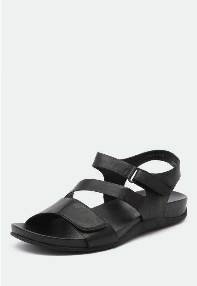 Ladies Easy Black Flat Sandals, Keep things casual in these adjustable foot friendly sandals.  $120.00