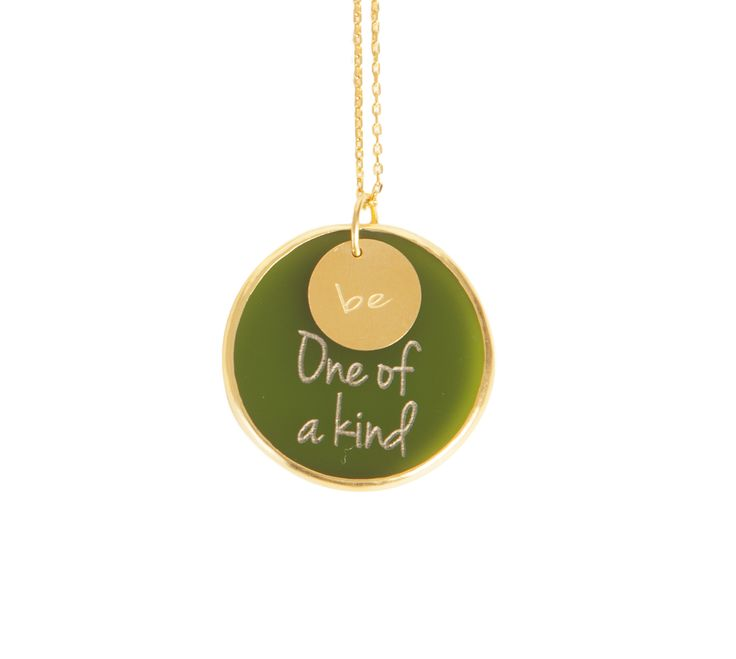 ''Be One Of A Kind '' Gold plated silver chain and plexiglass necklace