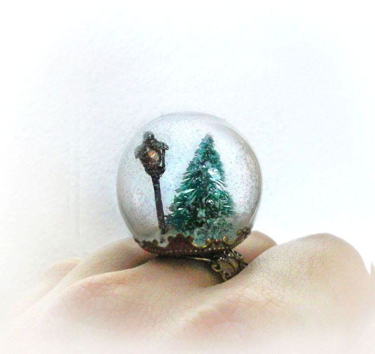 Snow globe ring Narnia jewelry fairytale pine tree ring