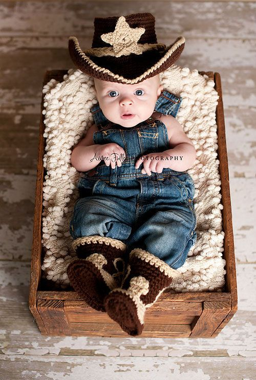 Baby Cowboy Hat and Boots Chocolate Brown And by conniemariepfost, $55.00