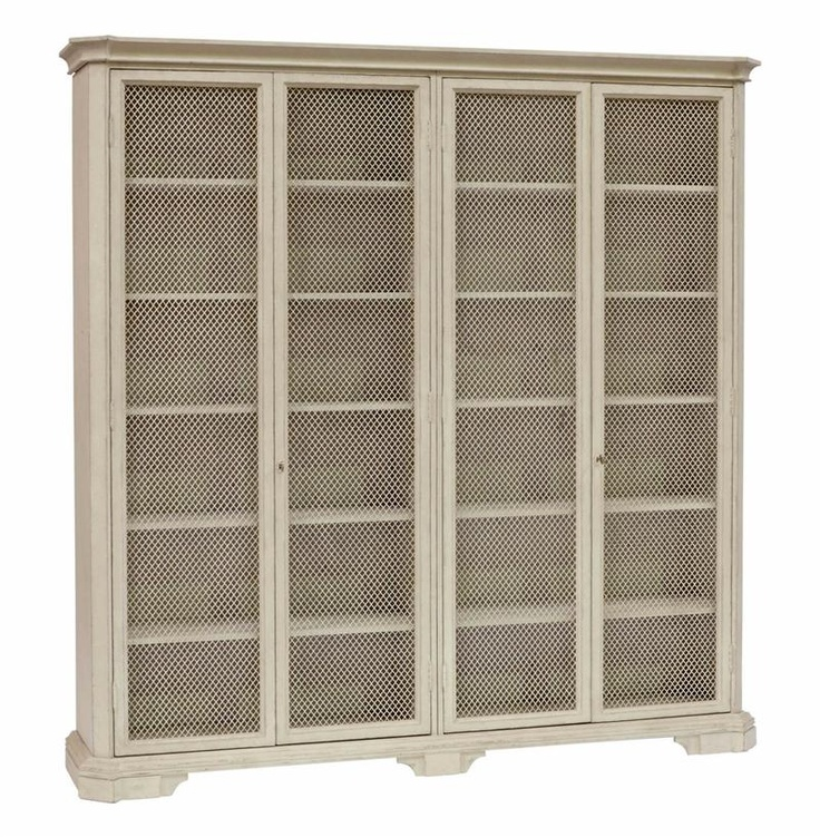 Leon large antique white mesh front french country kitchen for French antique white kitchen cabinets