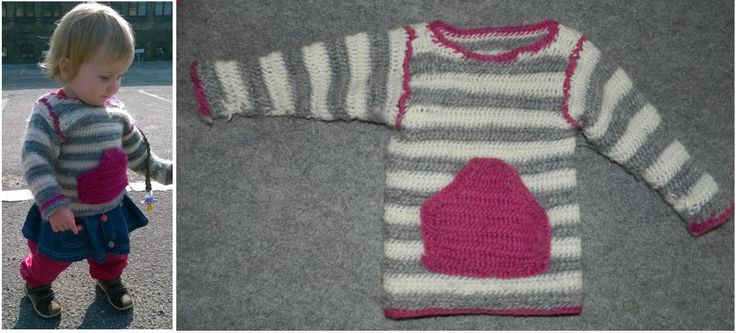 Nålebundet sweater med mavelomme i uspundet uld.
