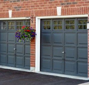 I love the black doors.   garage organization