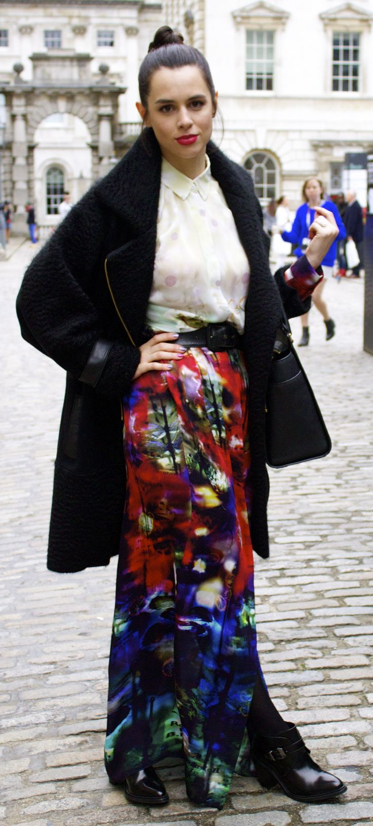Rosa Hoskins wearing a JUDY WU AW13 coat to Teatum Jones at LFW as featured on Your Coffee Break!