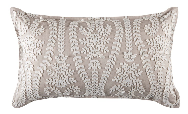 A beautiful neutral shade in high quality finished cotton with an intricate stitched fern design, puts this cushion into a class of its own.  Other colours available. Price $49.