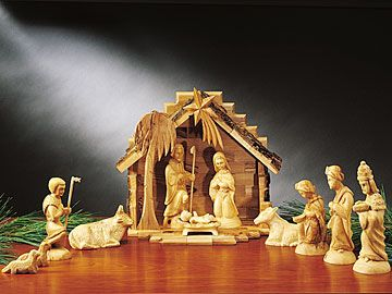 HOLY LAND CRECHE  traditional creche made  in Bethlehem from native olive wood.
