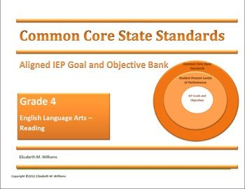 My Common Core Aligned IEP Goal and Objective Bank is an ESSENTIAL tool for Intermediate Grades 4-5 special education teachers.